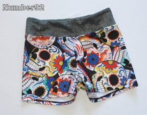 DYNAMITE ACTIVEWEAR JAZZ SHORTS – SIZE 9 – PRE-MADE SUGAR SKULLS SPANDEX