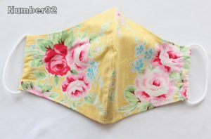 MED ADULT SIZE – PREMADE 2 LAYER COTTON FACE COVER – YELLOW FLORAL COTTON
