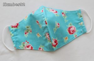 MED ADULT SIZE – PREMADE 2 LAYER COTTON FACE COVER – BLUE FLORAL COTTON