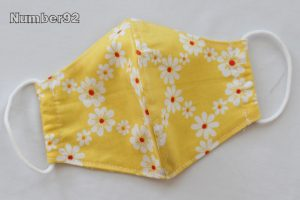 SMALL YOUTH SIZE – PREMADE 2 LAYER COTTON FACE COVER – DAISY COTTON