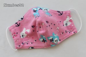SMALL YOUTH SIZE – PREMADE 2 LAYER COTTON FACE COVER – PINK DEER COTTON LYCRA
