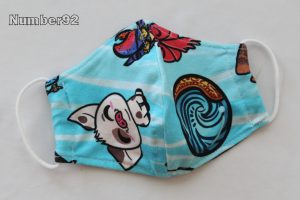 SMALL YOUTH SIZE – PREMADE 2 LAYER COTTON FACE COVER – MOANA COTTON LYCRA