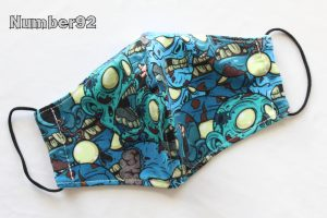 MED ADULT SIZE – PREMADE 2 LAYER COTTON FACE COVER – ZOMBIES BLUE COTTON LYCRA