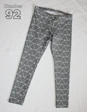 SIZE 6 LEGGINGS – PRE-MADE SILVER TRIANGLES COTTON LYCRA