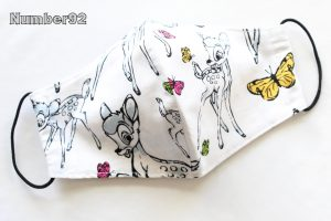 MED ADULT SIZE – PREMADE 2 LAYER COTTON FACE COVER – BAMBI COTTON
