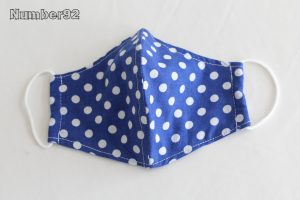 YOUTH SIZE – PREMADE 2 LAYER COTTON FACE COVER – BLUE DOTS COTTON