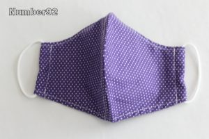 MED ADULT SIZE – PREMADE 2 LAYER COTTON FACE COVER – PURPLE DOTS COTTON