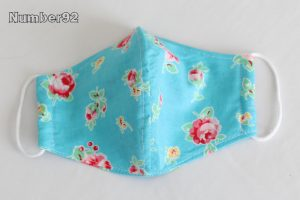 YOUTH SIZE – PREMADE 2 LAYER COTTON FACE COVER – BLUE FLORAL COTTON