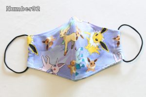 YOUTH SIZE – PREMADE 2 LAYER COTTON FACE COVER – POKEMON COTTON LYCRA