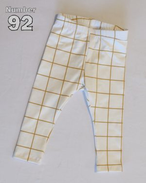SIZE 00 BABY LEGGINGS – PRE-MADE GOLD GRID COTTON LYCRA