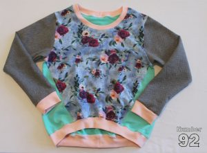 SIZE 10 TWISTED PULLOVER – PREMADE DENIM FLORAL FRENCH TERRY
