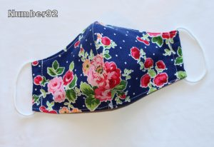 MED ADULT SIZE – PREMADE 2 LAYER COTTON FACE COVER – NAVY FLORAL COTTON
