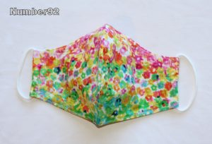 MED ADULT SIZE – PREMADE 2 LAYER COTTON FACE COVER – RAINBOW FLORAL COTTON