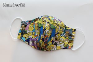MED ADULT SIZE – PREMADE 2 LAYER COTTON FACE COVER – SIMPSONS COTTON