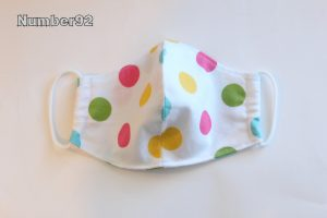 SMALL YOUTH SIZE – PREMADE 2 LAYER COTTON FACE COVER – PASTEL DOTS COTTON