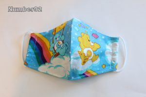 SMALL YOUTH SIZE – PREMADE 2 LAYER COTTON FACE COVER – CARE BEARS COTTON