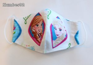 SMALL YOUTH SIZE – PREMADE 2 LAYER COTTON FACE COVER – WHITE FROZEN COTTON