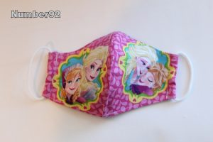 SMALL YOUTH SIZE – PREMADE 2 LAYER COTTON FACE COVER – PINK FROZEN COTTON