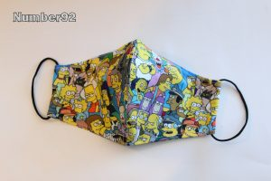 LGE ADULT SIZE – PREMADE 2 LAYER COTTON FACE COVER – SIMPSONS COTTON
