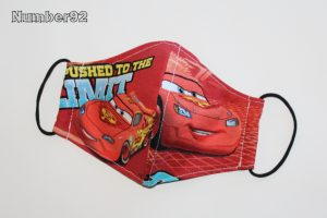 SMALL YOUTH SIZE – PREMADE 2 LAYER COTTON FACE COVER – CARS COTTON