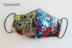 YOUTH SIZE – PREMADE 2 LAYER COTTON FACE COVER – AVENGERS COTTON