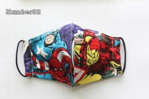 SMALL YOUTH SIZE – PREMADE 2 LAYER COTTON FACE COVER – AVENGERS COTTON