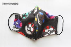 SMALL YOUTH SIZE – PREMADE 2 LAYER COTTON FACE COVER – POKEBALLS COTTON LYCRA